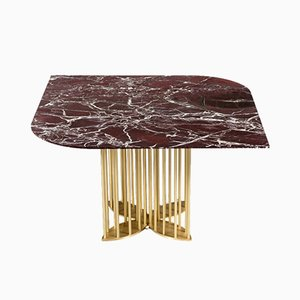 Naiad Dining Table in Rosso-Levanto Marble & Brass by Naz Yologlu for NAAZ