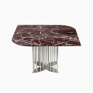 Naiad Dining Table in Rosso-Levanto Marble & Stainless Steel by Naz Yologlu for NAAZ