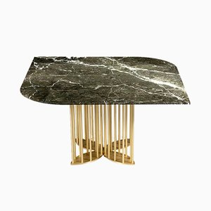 Naiad Dining Table in Verde-Levanto Marble & Brass by Naz Yologlu for NAAZ