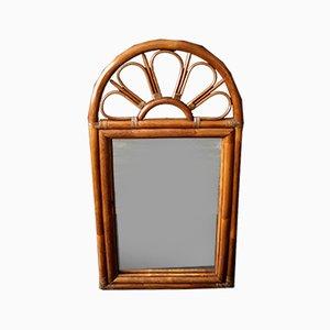 Großer französischer Spiegel aus Bambus, 1960er