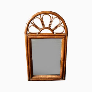 Large French Bamboo Mirror, 1960s