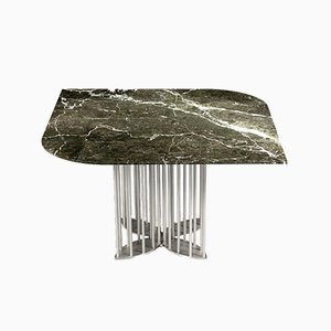 Naiad Dining Table in Verde-Levanto Marble & Stainless Steel by Naz Yologlu for NAAZ
