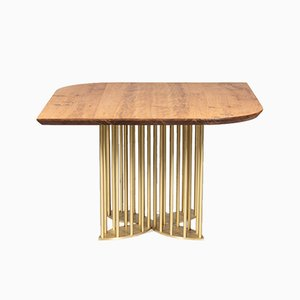 Naiad Dining Table in Oak & Brass by Naz Yologlu for NAAZ