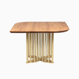 Naiad Dining Table in Oak & Brass by Naz Yologlu for NAAZ