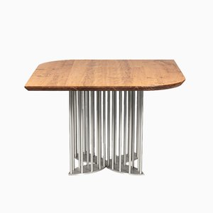 Naiad Dining Table in Oak & Stainless Steel by Naz Yologlu for NAAZ