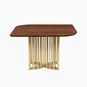 Naiad Dining Table Walnut with Brass by Naz Yologlu for NAAZ