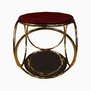 Italian Gilded Brass Side Table, 1970s
