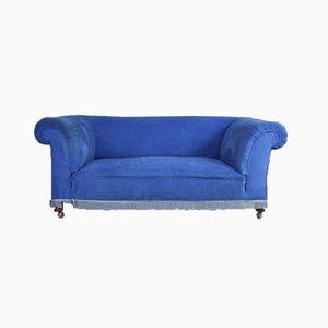 Antikes blaues gepolstertes Sofa