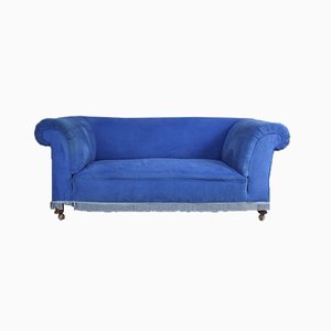 Antique Blue Upholstered Sofa