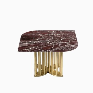Naiad Coffee Table Rosso-Levanto Marble with Brass by Naz Yologlu for NAAZ, 2018