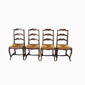 Antike französische Esszimmerstühle mit Leiter-Rücklehne, 4er Set