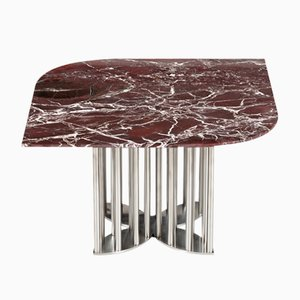 Naiad Coffee Table in Rosso-Levanto Marble & Stainless Steel by Naz Yologlu for NAAZ