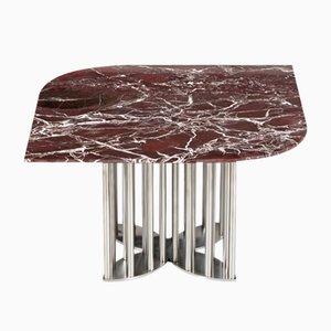 Tavolino da caffè Naiad in marmo rosso ed acciaio di Naz Yologlu per NAAZ, 2018