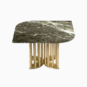 Naiad Coffee Table Verde-Levanto Marble with Brass by Naz Yologlu for NAAZ