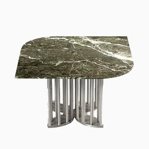 Naiad Coffee Table in Verde-Levanto Marble & Stainless Steel by Naz Yologlu for NAAZ