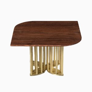 Naiad Coffee Table in Walnut & Brass by Naz Yologlu for NAAZ