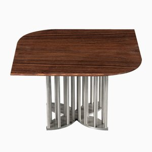 Naiad Coffee Table Walnut with Stainless Steel by Naz Yologlu for NAAZ