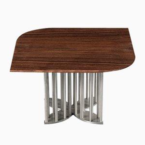 Naiad Coffee Table Walnut with Stainless Steel by Naz Yologlu for NAAZ