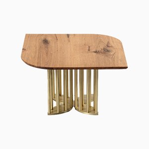 Naiad Coffee Table Oak with Brass by Naz Yologlu for NAAZ