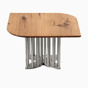 Naiad Coffee Table Oak with Stainless Steel by Naz Yologlu for NAAZ