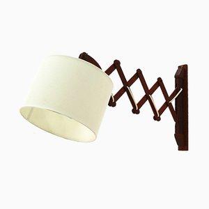 Wandlampe aus Teak mit Scherenarmen, 1960er