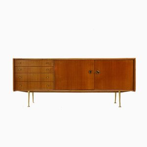 Sideboard aus Kirschholz & Messing, 1950er