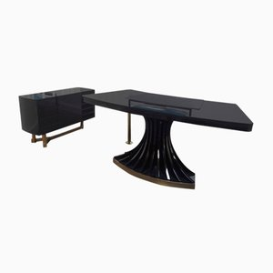 Italian Black Lacquered Desk & Commode, 1970s