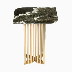 Naiad Side Table in Verde-Levanto Marble & Brass by Naz Yologlu for NAAZ