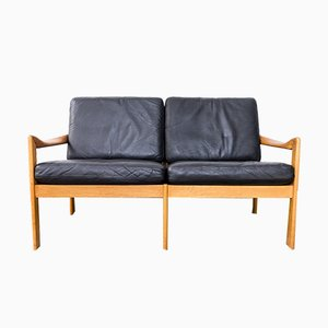 Oak Sofa with Leather Cushions by Illum Wikkelsø for Niels Eilersen, 1960s