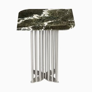 Naiad Side Table in Verde-Levanto Marble & Stainless Steel by Naz Yologlu for NAAZ