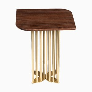 Naiad Side Table Walnut with Brass by Naz Yologlu for NAAZ