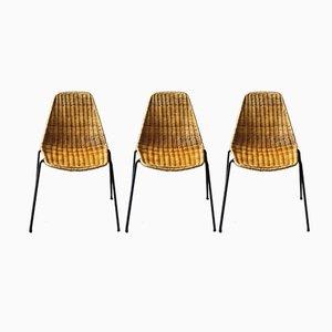 Stuhl Set aus Korbgeflecht von Gian Franco Legler, 1950er, 3er Set