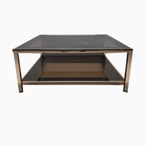 Square 23Kt Gold Plated 2-Tier Coffee Table from Belgo Chrom, 1980s