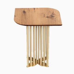 Naiad Side Table in Oak & Brass by Naz Yologlu for NAAZ