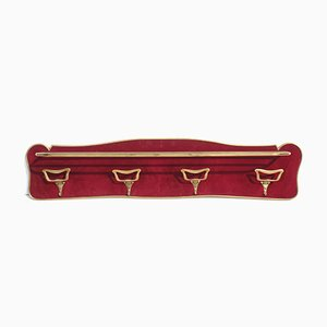 Italian Brass and Velvet Wall Coat Rack, 1950s