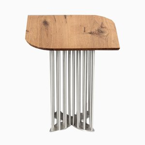 Naiad Side Table in Oak & Stainless Steel by Naz Yologlu for NAAZ