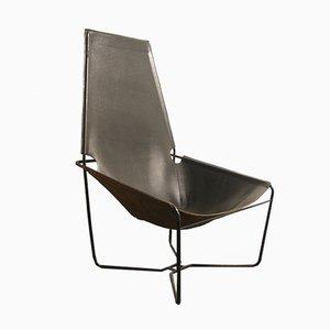 Chaise en Cuir Noir, 1970s