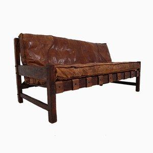 Brazilian Patinated Cognac Leather Sofa, 1960s