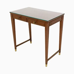 Mahogany & Crystal Glass Desk, 1950s