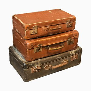 Vintage French Suitcases, Set of 3