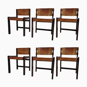 Oak Dining Chairs in Cognac Saddle Leather, 1970s, Set of 6