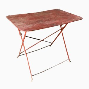 Mesa de bistró vintage de metal rojo
