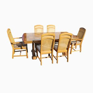 Golden Oak Parquet Extendable Table with 6 Dining Chairs, 1960s