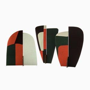 Biombos Kazimir abstractos en verde, rojo, blanco y negro de Julia Dodza para Colé. Juego de 3