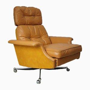 Sillón reclinable grande de cuero coñac, años 60