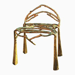 Hand-Sculpted Twigy Brass Chair by Masaya