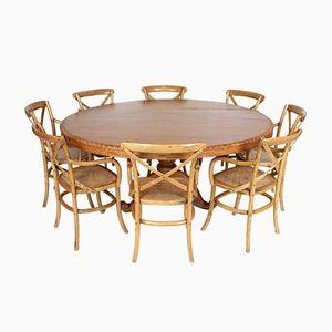 Französischer Vintage Esstisch & 8 Stühle