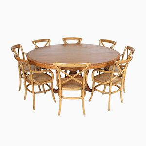 Vintage French Dining Table & 8 Chairs