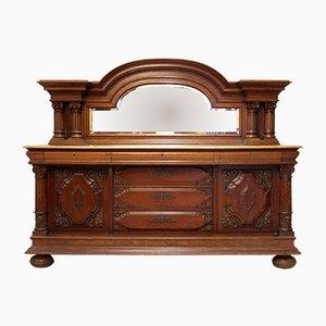 Buffet antico in legno di quercia e specchio