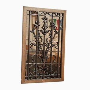 Specchio vintage in ghisa e quercia